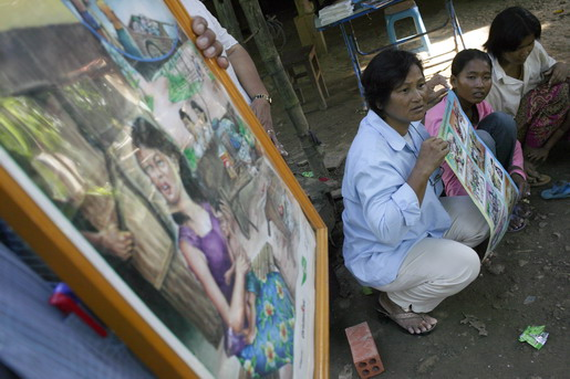 Ministry of Health organising monthly information session on mental health issues in village communities. Mrs. PEL Meayeat, 51, psychiatric nurse. - Photo: @John Vink / Magnum Photo / IOM 2006