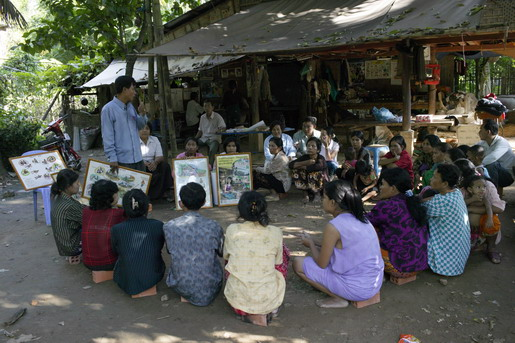 Ministry of Health organising monthly information session on mental health issues in village communities. - Photo: @John Vink / Magnum Photo / IOM 2006