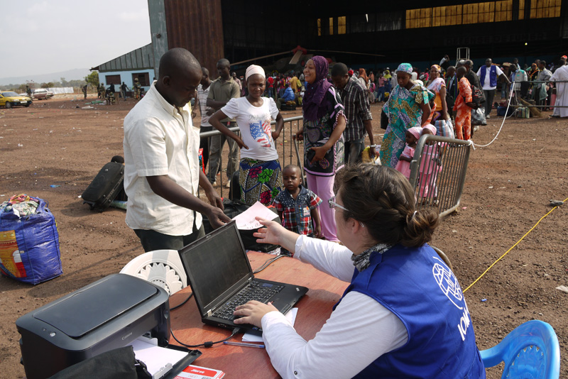 Chadian evacuees board a plane to Chad. IOM helped 314 Chadians leave the Central African Republic (CAR) and flew them back to Chad. This was the 19th evacuation flight conducted by IOM for Third Country Nationals (TCNs) exiting CAR. © IOM 2014 (Photo by Sandra Black)