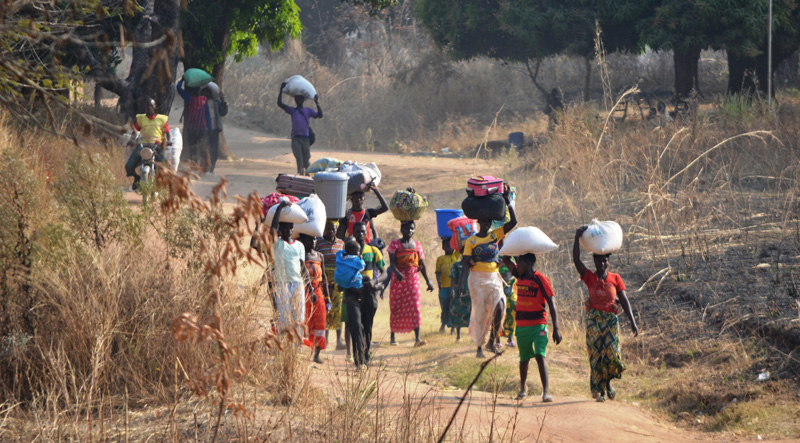 A group of refugees cross into Chad on foot from the CAR at the village of Mini, near Mbitoye. © IOM 2014 (Photo by Craig Murphy)