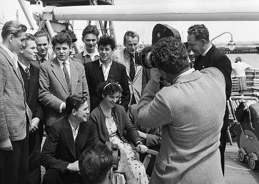 The Australian Minister for Immigration, Mr. Athol Townley, boards the liner Aurelia before her arrival in Melbourne to welcome personally 600 Hungarian refugees and migrants from Austria, Yugoslavia, Italy and Malta aboard the liner. Photo © Australian Official Photograph 1957 – HAU0292 – T. Hood