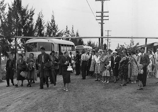 Hungarian refugees arrive on ICEM chartered buses to Scheyville Migrant Reception Centre, set rich farming country about 40 miles from the city of Sydney. Photo © Australian Official Photograph 1956 – HAU0306 – T. Hood