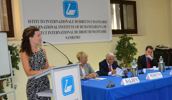 Course opening. Speaker: Dr. Kristina Touzenis. Also on the picture: Dr. Stefania Baldini, IIHL Secretary General, Ambassador Maurizio Moreno, President, IIHL, and Mr. Daniel Redondo, Training-Project Officer, IOM