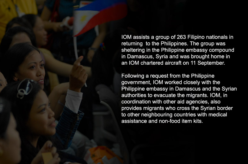 Filipino nationals arrive in Manila from Damascus, Syria on 11 September on an IOM chartered plane. Following a request from the Philippine government, IOM worked closely with the Philippine embassy in Damascus and the Syrian authorities to evacuate the migrants. © IOM 2012 (Photo: Ray Leyesa)