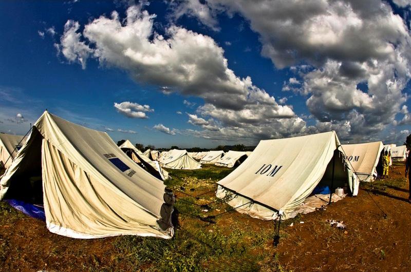 En cuestión de días, la OIM y sus socios establecieron, justo a las afueras de Juba, un centro de tránsito con capacidad para 7.000 retornados.  En él se brinda alojamiento, alimentos, protección y asistencia médica a las personas retornadas de Kosti. © OIM 2012