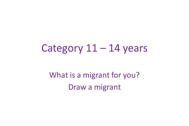 Categoria 11 a 14 años Para ti, qué es un migrante ? Dibuja un migrante