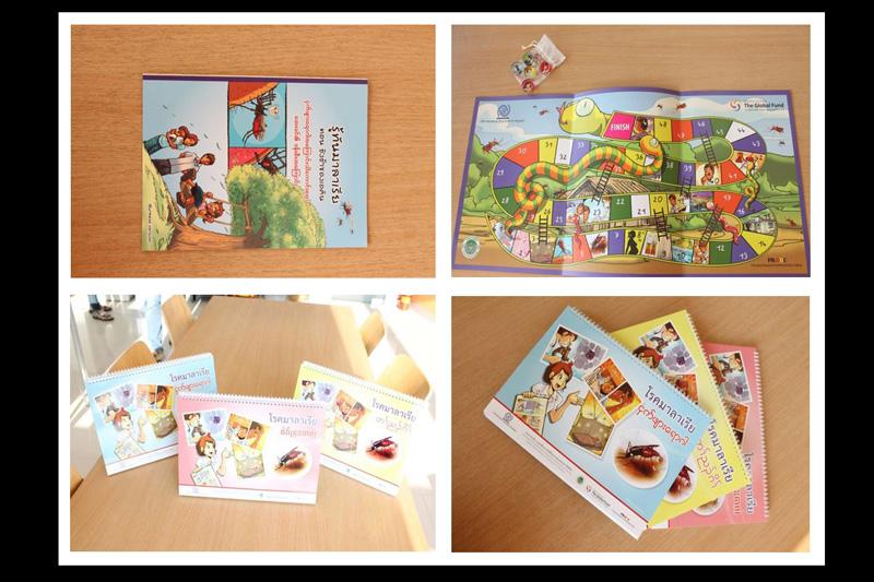 Behaviour Change Communication materials - top-left; bilingual comic book (Thai-Burmese), top-right; the ladder game, bottom; 3 bilingual flipchart (Thai-Burmese, Thai-Karen and Thai-Khmer).