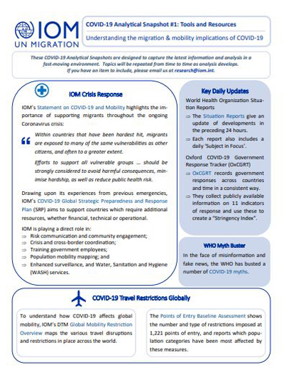 Iom Crisis Response Covid 19 Analytical Snapshot 1 Tools And Resources Understanding The Migration Mobility Implicatio