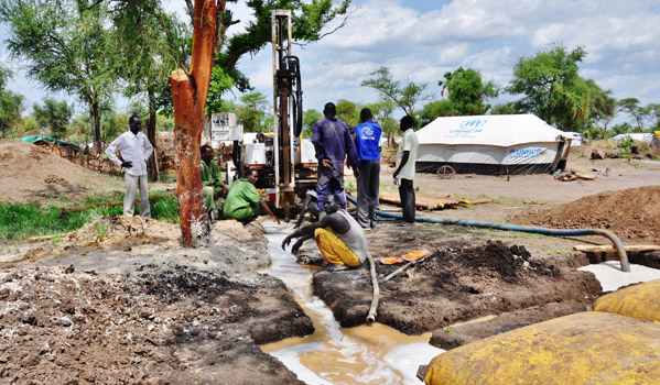 Drilling for water in Doro Refugee Camp. Drilling at this site reached 33m before the drill shaft collapsed and the team had to shift to an alternate site. Three boreholes have been drilled in outlying areas of the camp to increase the water supply, drilling of the fourth is ongoing. © IOM 2012