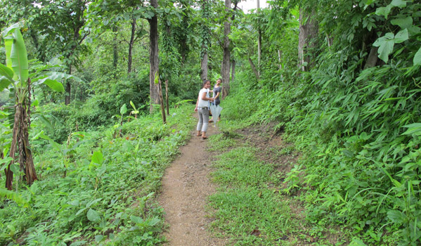 "Im and DeeDee walk uphill through the forest towards the ""TB Village"" in Mae Lat Camp, where patents with active TB or infectious phase TB live for about two months to receive DOT (Directly Observed Treatment) before going back to their communities. © IOM 2012"