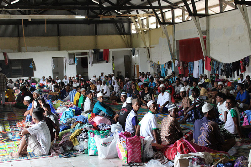 Male Bangladeshi migrants at Langsa camp for recently arrived migrants, Aceh, Indonesia. © IOM/Joe Lowry 2015