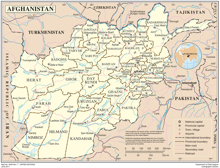 World Map Of Kabul Afghanistan. Source  un org Afghanistan International Organization for Migration