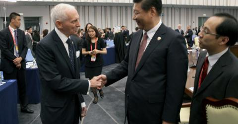 IOM's Director General, Ambassador William Lacy Swing (left) meets with President Xi Jinping of P.R. China during the Fourth Summit of Heads of State of the Conference on Interaction and Confidence Building Measures in Asia (CICA), held in Shanghai, on 21st May 2014. © IOM @2014