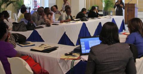 Cette semaine, l'OIM a apporté son soutien au Ministère haïtien de la santé et au Programme national contre la tuberculose en organisant le deuxième atelier bi-national sur la tuberculose (TB) qui a été suivi par les délégations d'Haïti et de République dominicaine et par des représentants de l'OIM et de l'OMS. © OIM 2014