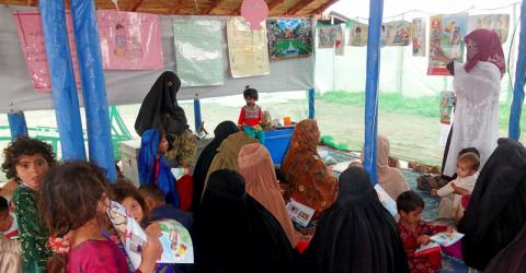 IOM Pakistan's humanitarian communications programme, which has used radio campaigns, print media and facilitators to provide life-saving outreach to communities displaced by conflict and natural disasters in the area since 2009, is facing a funding threat. © IOM 2014