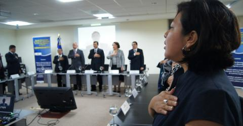 IOM El Salvador presents a work plan to provide technical support to the National Council for the Protection and Development of Migrants and their Families (CONMIGRANTE) as it develops a public policy to include the diaspora in the country's development initiatives. © IOM 2012
