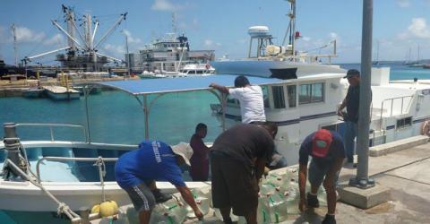 Du personnel de l'OIM charge de l'eau potable à destination des Iles Marshall, dont le nord est touché par la sécheresse.