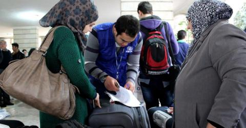 During the cultural orientation classes, participants mentioned that their primary concerns were housing, employment and schooling their children. Many of the children on today's flight were unable to attend school in Lebanon as their parents have struggled to find regular employment and were unable to pay for the tuition. © IOM 2013 (Photo by Samantha Donkin)