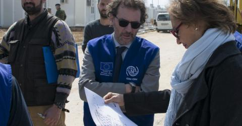 IOM's Deputy Director General Laura Thompson, the Director of IOM's Regional Office for the EU, Norway and Switzerland, Eugenio Ambrosi, and the Regional Response Coordinator, Gianluca Rocco, visited the Accommodation Center of Serres, where construction works are in progress. Ambassador Thomson also met with IOM's Emergency Operations staff in Thessaloniki and thanked everyone for their work. Photo: IOM