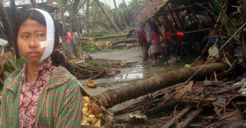 Labutta is one of the hardest hit areas in the Irrawaddy delta region of Myanmar. Many houses have literally been blown apart by Cyclone Nargis which hit the region on 2 May at wind speeds of up to 190 kilometres per hour. © International Federation of Red Cross and Red Crescent Societies