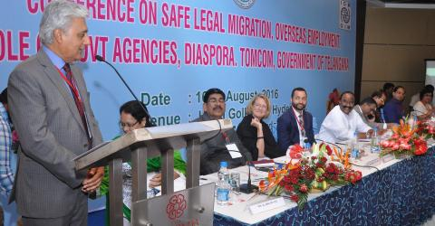 IOM Chief of Staff Ovais Sarmad speaking at the conference in Hyderabad, India, today (16 August).