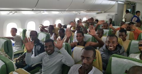 The 147 Ethiopian migrants on the flight home from Zambia. IOM 2017