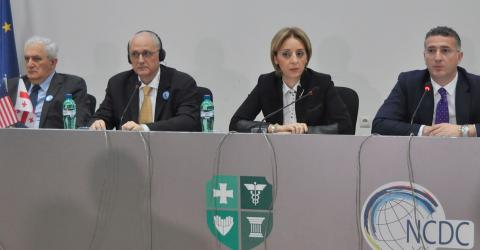 From left to right: Dr. Amiran Gamkrelidze, Director General , NCDC; Dr. Gauden Galea, Regional Office for Europe, World Health Organization; Ms. Nino Berdzuli, Deputy Minister of Labour, Health and Social Affairs of Georgia and Mr. Revaz Javelidze, Deputy Minister of Youth and Sport Affairs of Georgia.