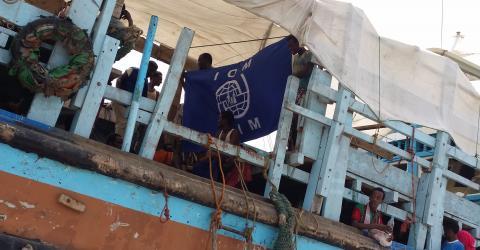 Première évacuation par bateau de migrants bloqués au Yémen par l'OIM. © OIM 2015