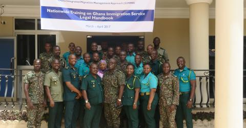 Trainers and Ghana immigration officials during the training in Tamale, Northern Region, Ghana. Photo: IOM