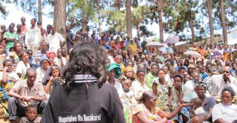 IOM, UNHCR awareness raising session on human trafficking in Nyabiheke Refugee Camp, Gatsibo District, Eastern Rwanda. File photo: IOM Rwanda 2012