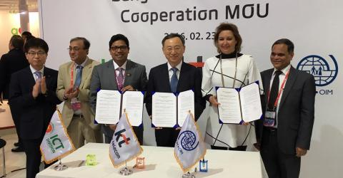 Bangladesh, KT Corporation and IOM sign up for the project. Photo: IOM