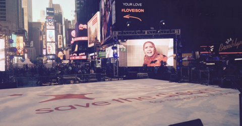 A montage of previous PLURAL+ winning films was screened on Times Square's big screens.
