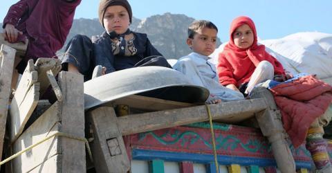 Afghan child returnees at the IOM Transit Center at the Torkham border. Photo: IOM