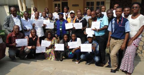 DRC trainees display their certificates. Photo: IOM