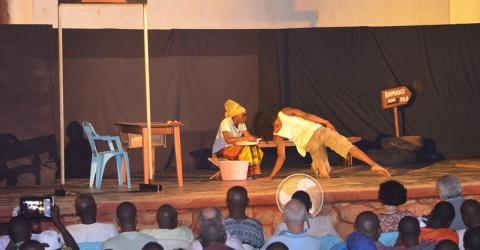 A theater campaign launched in Bangui, Central African Republic as part of IOM's Community Stabilization Project aims to provide a collective positive experience that will initiate dialogue and a trust-building process among residents in mixed communities.  © IOM 2015