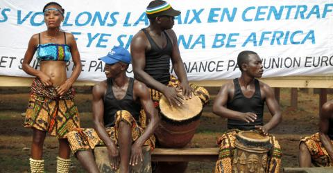 IOM and local people celebrate the completed rehabilitation of a social centre and a market in Bangui in the Central African Republic. Photo: IOM 2016