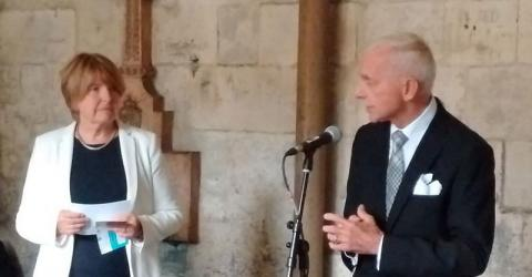 Ambassador Swing and Dame Barbara Stocking at the Memorial Event for Humanitarian Aid Workers, Westminster Abbey. Photo: IOM
