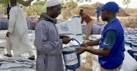 IOM, the UN Migration Agency together with NGO partner Saheli distribute relief items and shelter kits to displaced people in the Far North Region of Cameroon. Photo: IOM