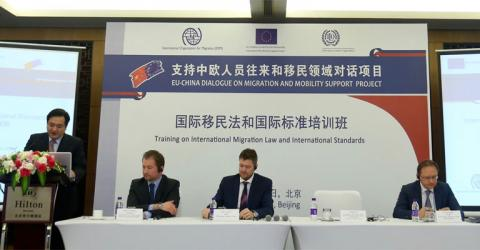 EU, IOM and Chinese speakers at the workshop. Photo: IOM