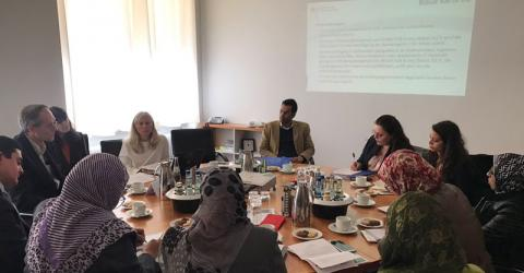 Egyptian government officials on a study visit to IOM's Global Migration Data Analysis Centre in Berlin. Photo: IOM