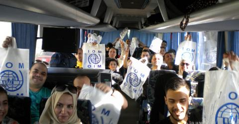 Forty-two migrants flew out of Borg El-Arab airport in Alexandria, Egypt on 16 June to Kassel, Germany for resettlement under the German resettlement programme. © IOM 2015