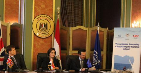 From left: Ambassador John Casson, Ambassador Naela Gabr and IOM Egypt's Head of Migrant Assistance Division Mr. Andrea Dabizzi launch PRIME project to address irregular migration. Photo: IOM