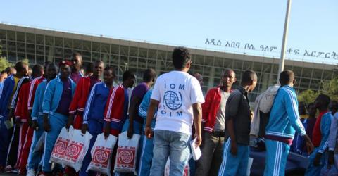 Ethiopian irregular migrants detained in Tanzania return home to Addis Ababa with IOM. © IOM 2014