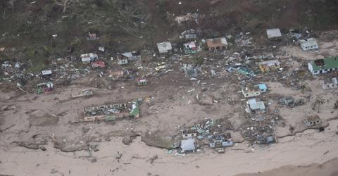 Cyclone Winston destroyed whole Fijian villages. Photo: NZ Defence Airforce.