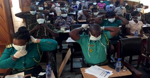 Ghanian officials train to combat the spread of Ebola.