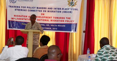 IOM trains government officials to effectively implement Ghana's new National Migration Policy. © IOM 2015