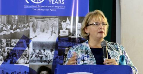 The Canadian High Commissioner to Ghana, H.E. Heather Cameron, gives remarks at IOM Ghana's Global Migration Film Festival, on the risks associated with irregular migration. Photo: IOM / Anita J Wadud