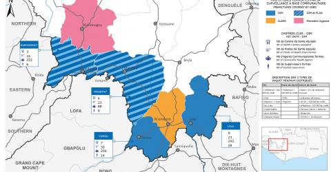 Map of community event-based Ebola surveillance in Guinea's forest region.