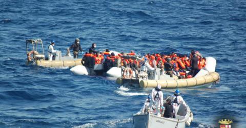 Italian Navy rescuing stranded migrants earlier this week. © Italian Navy