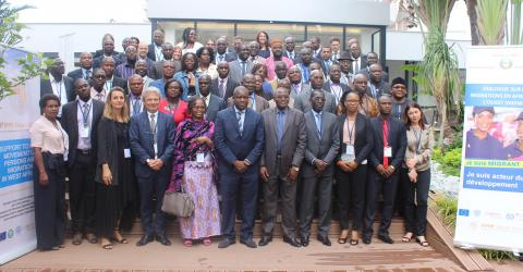 "Participants at the three-day Migration Dialogue for West Africa (MIDWA) meeting on the ""Impact of Free Movement and Migration Challenges"" in Abidjan, Côte d'Ivoire."